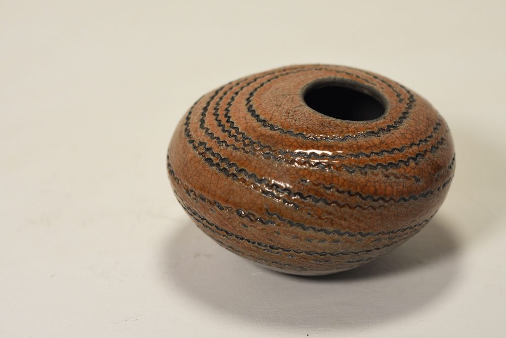 """Murmuration Sunset"" Raku Pot (Sold)"