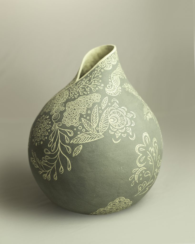 Grey Sgraffito Enfold 2 (side) SOLD
